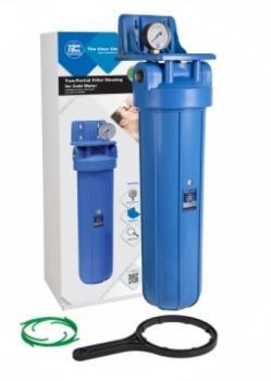 20-zoll-Filtergehäuse BIG BLUE Druckmesser Messinggewinde Montage SET